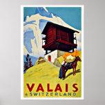 Vintage Travel Valais Switzerland Farmhouse Poster