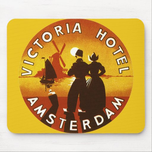 Vintage Travel, Victoria Hotel, Amsterdam, Holland Mouse Pads