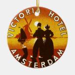 Vintage Travel, Victoria Hotel, Amsterdam, Holland Ornaments