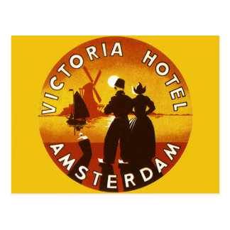Vintage Travel, Victoria Hotel, Amsterdam, Holland Post Card