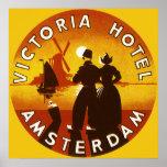 Vintage Travel, Victoria Hotel, Amsterdam, Holland Poster