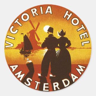 Vintage Travel, Victoria Hotel, Amsterdam, Holland Round Sticker