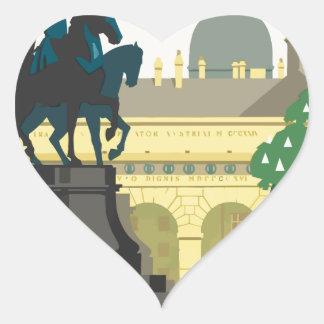 Vintage Travel Vienna Heart Sticker