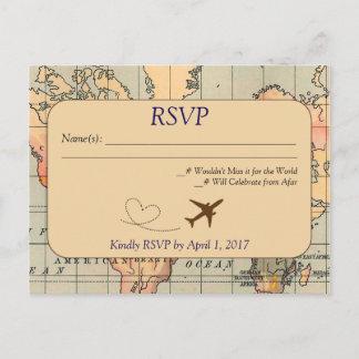 Vintage, Travel Wedding RSVP Postcard