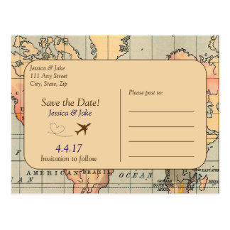 Vintage, Travel Wedding Save the Date Postcard