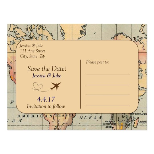 Vintage Travel Wedding Save The Date Postcard  ZazzleCom