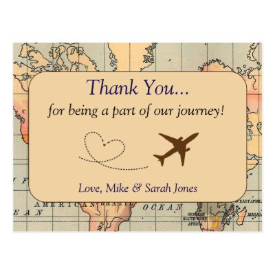 Travel Thank You Card Airplane Airline Wedding Postcard
