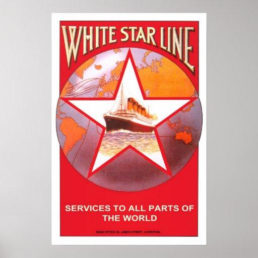 Vintage travel white star line poster zazzle