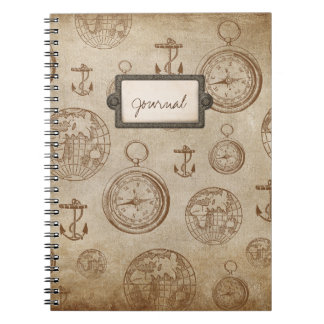 Vintage Travel with Compass, Anchors & Globe Notebook