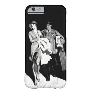 Vintage Travel Woman Bellhop Suitcase Luggage Man Barely There iPhone 6 Case