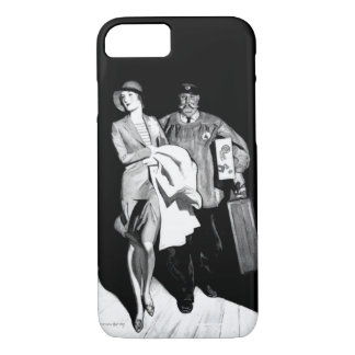 Vintage Travel Woman Bellhop Suitcase Luggage Man iPhone 7 Case