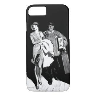 Vintage Travel Woman Bellhop Suitcase Luggage Man iPhone 7 Case