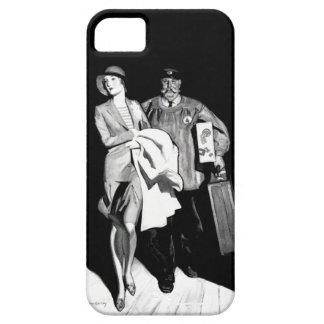 Vintage Travel Woman Bellhop Suitcase Luggage Man iPhone SE/5/5s Case