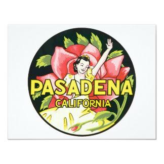 "Vintage Travel, Woman Roses, Pasadena California 4.25"" X 5.5"" Invitation Card"