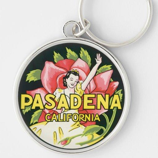 Vintage Travel, Woman Roses, Pasadena California Key Chains