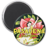 Vintage Travel, Woman Roses, Pasadena California Refrigerator Magnets