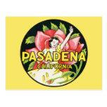 Vintage Travel, Woman Roses, Pasadena California Postcard