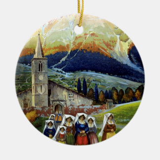 Vintage Travel, Women of Abruzzo, Italy Double-Sided Ceramic Round Christmas Ornament