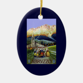 Vintage Travel, Women of Abruzzo, Italy Double-Sided Oval Ceramic Christmas Ornament