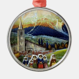 Vintage Travel, Women of Abruzzo, Italy Round Metal Christmas Ornament