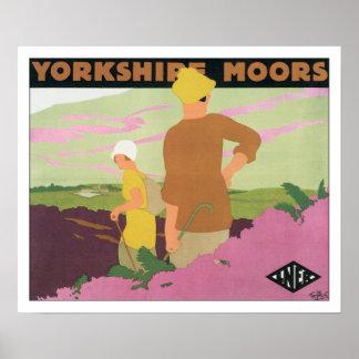 Vintage Travel Yorkshire Moors England Poster