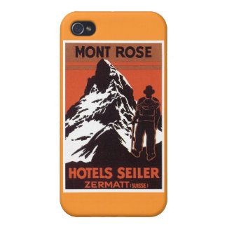 Vintage Travel Zermatt Switzerland Hotel Label Cover For iPhone 4