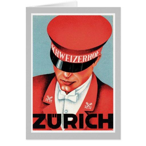 Vintage Travel Zurich Switzerland Label Art Greeting Card