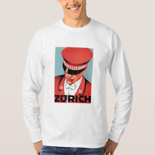 Vintage Travel Zurich Switzerland Label Art Shirts