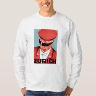 Vintage Travel Zurich Switzerland Label Art T-Shirt
