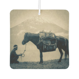 Vintage Traveler and His Horse  on way to Mt. Fuji Car Air Freshener