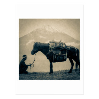 Vintage Traveler and His Horse  on way to Mt. Fuji Postcard
