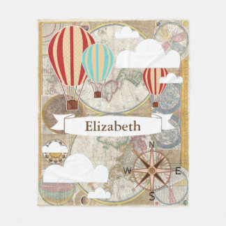 World map fleece blankets zazzle vintage traveler hot air balloons world map name fleece blanket gumiabroncs Image collections