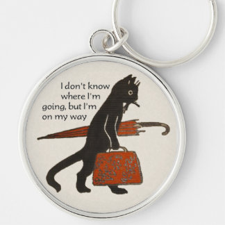 Vintage Travelling Black Cat Keychain