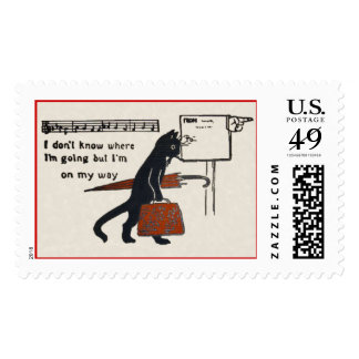 Vintage Travelling Black Cat Large Postage Stamp