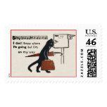 Vintage Travelling Black Cat Large Postage Stamp