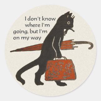 Vintage Travelling Black Cat Round Stickers