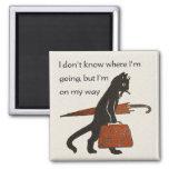 Vintage Travelling Black Cat Square Fridge Magnet
