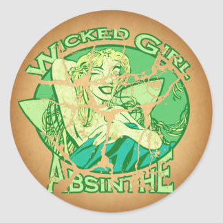 Vintage travieso del ajenjo del chica pegatina redonda