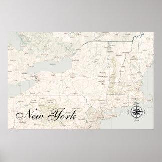 Vintage Treasure Map Poster New York