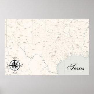 Vintage Treasure Map Poster Texas