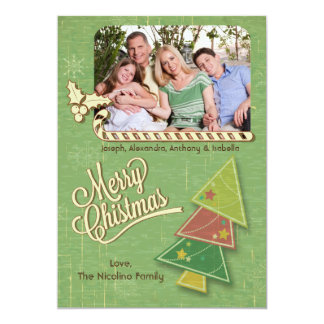 Vintage Tree And Candycane Holiday Photo Flat Card Invitations