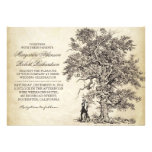 vintage tree and couple unique wedding invitations