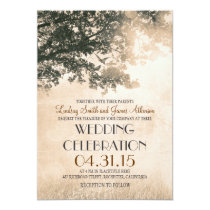 Vintage Tree and Love Birds Rustic Country Wedding Invitation