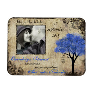 Vintage Tree & Birdcage Photo Save the Date Magnet