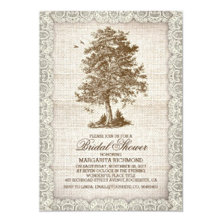 Vintage tree burlap lace rustic bridal shower 5x7 paper invitation card