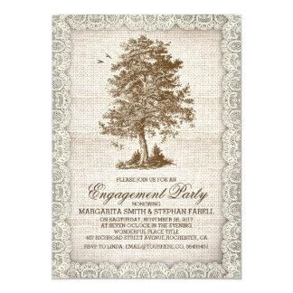 Vintage tree burlap lace rustic engagement party 5x7 paper invitation card