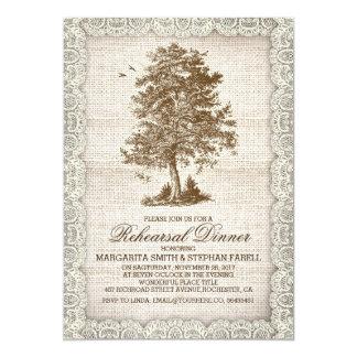 Vintage tree burlap lace rustic rehearsal dinner 5x7 paper invitation card