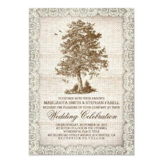 Vintage tree burlap lace rustic wedding invite