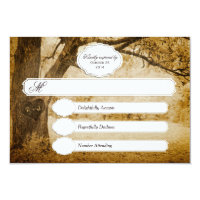 Vintage Tree Carving Wedding RSVP 1.0 Card