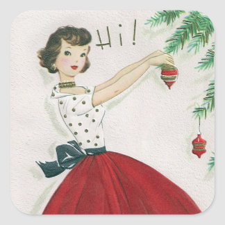 Vintage tree decorating lady retro sticker